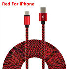 3/6/10FT STRONG Braided USB Data Sync Charger Cable Cord for iPhone 7 Plus 6S 5S
