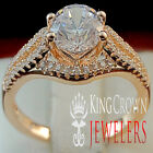 Ladies Solitaire Accent Bridal 14K Rose Gold Finish Lab Diamond Bridal Ring Band