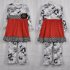 Girls Black Red Floral Outfit with Headband Christmas Valentines 18M 2T 3T 4 5 6