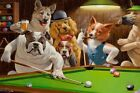 Home Art Wall Dogs Playing Pool billiards Oil Painting Picture Printed On Canvas $11.39 USD