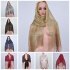 NEW Women's Fishnet Sheer Fringe Scarf Shawl Wrap Party Wedding Shimmer Glitter