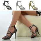 Womens Strappy Heel Platform Sandals Peeptoe Ladies Stiletto Evening Party Shoes