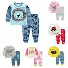 Внешний вид - 2pcs Kids Baby boys girls clothes top+pants cotton baby pajamas sleepwear