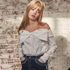 NEW Wide Ribbon Blouse MAG&LOGAN Off Shoulder Party Club Daily Long Sleeve Women