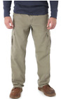 Men's Wrangler RipStop Cargo Pants Khaki Relaxed Fit Tech Pocket ALL SIZES 34-48