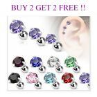 Prong Set Round Cartilage CZ Upper Ear Stud Earring Helix Bar 3mm, 4mm, 5mm