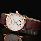Casual Mens Watch Rose Gold Case Leather Strap Crystal Analog Quartz Wrist Watch
