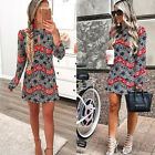 Women's Summer Off Shoulder Floral Short Mini Dress Beach Party Cocktail Evening
