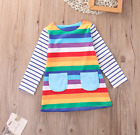Girls Rainbow Long Sleeve Tunic Dress Sizes 2T 3T 4T 5 6 7 Fall School Outfit