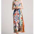 Occident fashion neck bead fresh Printed graceful high quality knee dress SMLXL