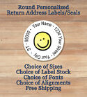 round label printing - SMILEY FACE Personalized Printed Peel & Stick ROUND Return Address Labels