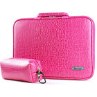 """7"""" - 12"""" Memory Foam Laptop Handle Case Sleeve ouch Protect Bag Crocodile Pink"""