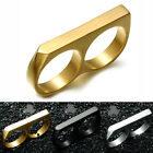 Hip Hop Style Ring Men Two Fingers Together Stainless Steel Ring Male Jewelry