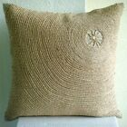 Optic Ecru Pillow Cases, Cotton Linen 16x16 Throw Pillow Covers - Back To Earth