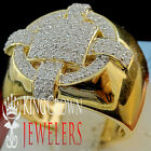 Big Bold Real 10K Yellow Gold Sterling Silver Lab Diamond Mens Pinky Ring Band