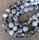 8mm White and Brown Fire Agate Gemstone Beads Full Strand Faceted Round S140