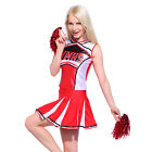 Glee Club Style Cheerleader Girl Costume Adult FANCY DRESS outfit w/ Pom Poms