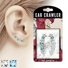 Pair of Round CZs and Hollow Stars Prepacked Ear Crawler / Ear Climber Earrings