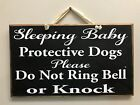 Sleeping baby protective dogs don't ring bell or knock sign door hanger porch