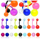 FLEXI Acrylic Transparent Ball Belly Navel Bar No Metal Body Piercing Jewellery