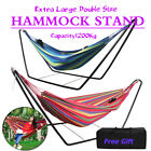 2 Colors Double Hammock Stand Garden Outdoor Swing Chair Steel Frame With Bag Uk