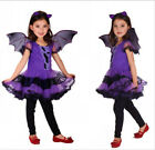 Girls Kids Wicked Witch Costume With Hat Halloween Horror Fancy Dress Costume