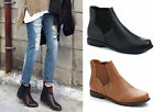 Ladies Womens Flat Low Block Heel Slip On Classic Chelsea Ankle Boots New Size