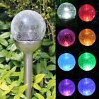 Crackle Glass Solar Stainless Steel Path Lights: Color-Changing & White LEDs