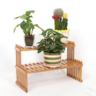 BAMBOO WOODEN 2-TIER  DESK SHELF LADDER PLANT SHELF MULTIPLE USE STRONG ELEGANT
