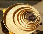 Bamboo handmade round plates bamboo fruit baskets storage multiple use 竹匾竹筛簸箕竹编