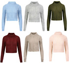 Ladies Womens High Polo Neck Chunky Cable Knitted Long Sleeve Pullover Crop Top