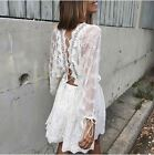 Batwing Cross Open Back Embroidery Lace Crochet White Short Mini Dress Women