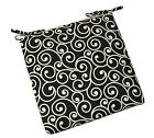 In / Outdoor Foam Seat Cushion w/ ties Black Ivory Ornament Scroll - Choose Size