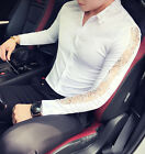 Stylish Men's Lace See Through Sexy Shirt Casual Long Sleeve Club Wedding Tops