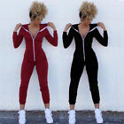 Fashion Women Sport Suit Bodysuit Long Sleeve Zipper Hooded Jumpsuits Pants