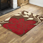 MODERN QUALITY FLOWERY DESIGN LOW COST LARGE SMALL BROWN RED RUG & RUNNER