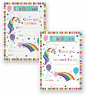 Pack of 20 Unicorn Thank You Sheets Party Invitation Sheets with Envelopes
