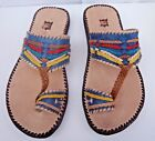 100% MOROCCAN LEATHER  MULTI COLOUR SANDALS *  BLUE