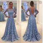 Lace Backless Prom Dresses Long Sleeve Evening Cocktail Ball Party Gown Women