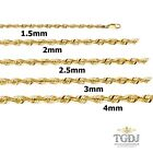 """1.5MM-4MM 14K SOLID YELLOW GOLD WOMEN/ MEN'S ROPE LIGHT CHAIN NECKLACE 8""""-26"""""""