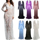 Women Maternity Photography Maxi Gown Lace Sheer Dresses Long Pregnant Dress Hot