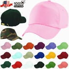 Plain Solid Washed Cotton Polo Style Baseball Ball Cap Caps Hat Adjustable Back