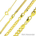 14k Gold Over 925 Sterling Silver Curb Cuban Mens Women Chain Necklace All Sizes