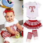 3 Pcs Baby Girls Leg Warmers Candy Cane Bodysuit Tutu Skirts Clothing Outfit Set