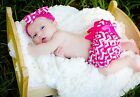 Hot Pink White Wavy Striped Infant Newborn Baby Bloomer Pantie wif Bow 2PC 6m-3Y
