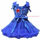 4th July Cutie Blue Star Cotton Top Shirt Girls Skirt Outfit Clothing Set 1-8Y
