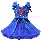 Happy 4th July Red Blue Star Cotton Top Girls Skirt Outfit Clothing Set 1-8Year