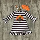 Girls Thanksgiving Turkey Striped Dress Necklace Bow Set Fall Outfit 2T-7 NEW