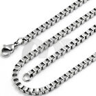 """1.5mm-4mm 16""""-30"""" Men Women Chain Silver Stainless Steel Box  Necklace Fashion"""