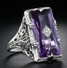 925 Silver Large Amethyst Gem Band Ring Wedding Proposed Women Jewelry Size 6-10